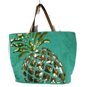 Mud Pie sequined pineapple tote bag